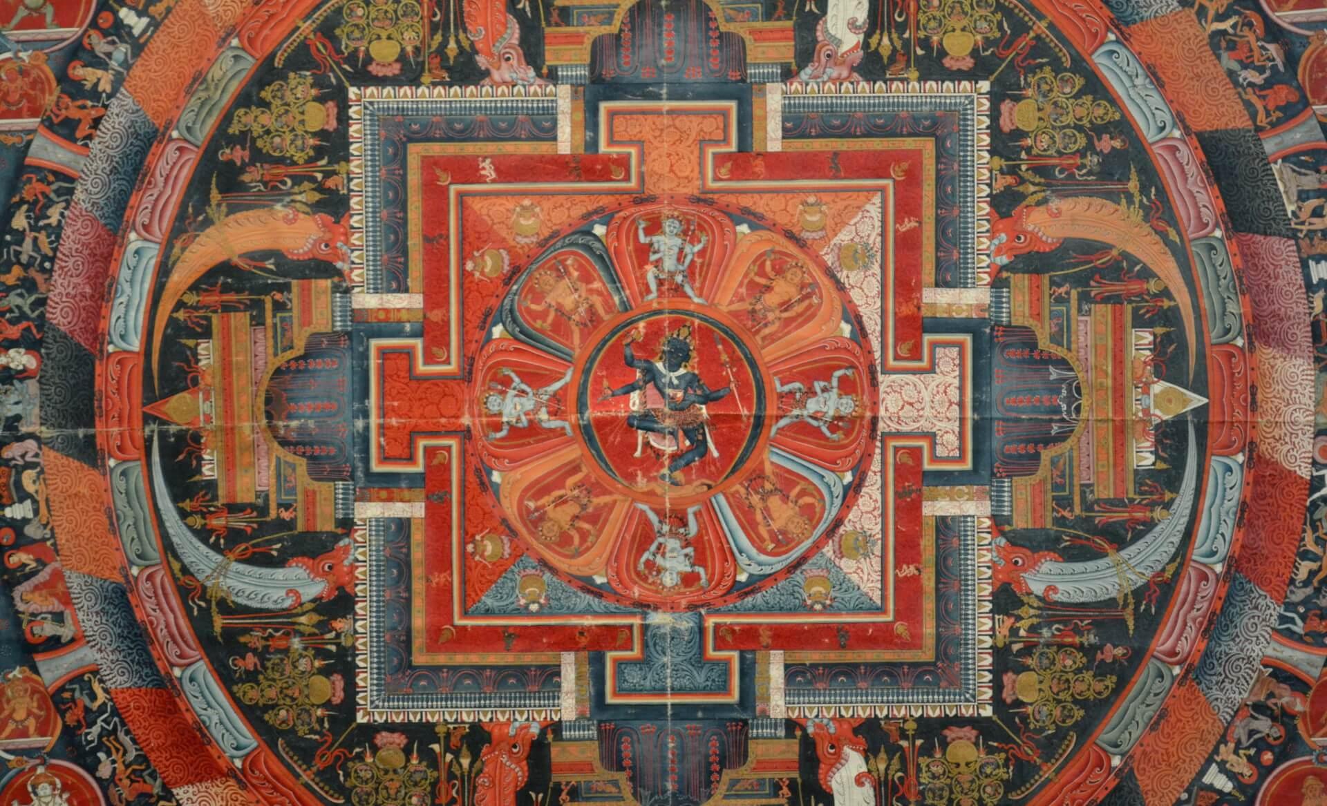 Figure dansante d'inspiration hindouiste sur une oeuvre bouddhiste